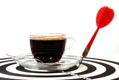 βέλος φλυτζανιών καφέ χαρτονιών Στοκ Εικόνες