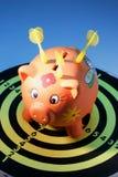 βέλος χαρτονιών τραπεζών piggy Στοκ Φωτογραφία