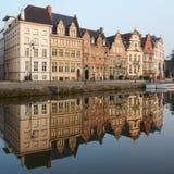 Βέλγων Όμορφη πόλη Gent στα ξημερώματα Στοκ Φωτογραφία