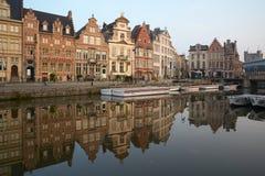 Βέλγων Όμορφη πόλη Gent στα ξημερώματα Στοκ Φωτογραφίες