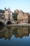 Βέλγων Όμορφη πόλη Gent στα ξημερώματα Στοκ Εικόνες