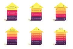 Βέλη για το infographics Διαγράμματα με 3 - 8 βήματα, επίπεδα Στοκ Εικόνες