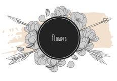 Βέλη και λουλούδια που διασχίζονται στο μαύρο υπόβαθρο επίσης corel σύρετε το διάνυσμα απεικόνισης Στοκ εικόνες με δικαίωμα ελεύθερης χρήσης
