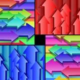 Βέλη που πετούν το πολύχρωμο τρισδιάστατο σύνολο υποβάθρου Στοκ Εικόνες