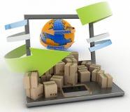 Βέλος εισαγωγών και εξαγωγής γύρω από τη γη για την επιχείρηση Στοκ εικόνα με δικαίωμα ελεύθερης χρήσης