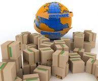 Βέλος εισαγωγών και εξαγωγής γύρω από τη γη για την επιχείρηση Στοκ φωτογραφίες με δικαίωμα ελεύθερης χρήσης