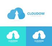 Βέλος επάνω και συνδυασμός λογότυπων σύννεφων Αύξηση και σύμβολο ή εικονίδιο αποθήκευσης Μοναδικός μεταφορτώστε και φορτώστε logo στοκ φωτογραφία
