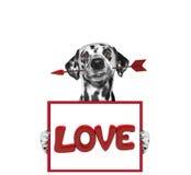 Βέλος και πλαίσιο εκμετάλλευσης σκυλιών με την αγάπη Στοκ φωτογραφία με δικαίωμα ελεύθερης χρήσης