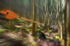 Βέλος που ταξιδεύει μέσω του αέρα με υψηλή ταχύτητα στο στόχο τοξοβολίας με τη θαμπάδα κινήσεων, φωτογραφία μερών, τρισδιάστατη α Στοκ Φωτογραφία