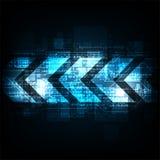 Βέλος στην έννοια τεχνολογίας σε ένα σκούρο μπλε υπόβαθρο Στοκ φωτογραφία με δικαίωμα ελεύθερης χρήσης