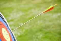 Βέλος στο bullseye του στόχου (κινηματογράφηση σε πρώτο πλάνο) Στοκ εικόνα με δικαίωμα ελεύθερης χρήσης