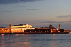 Βέλος του νησιού Vasilevsky, των ραμφικών στηλών και του ναυτικού μουσείου άρρωστων Στοκ εικόνες με δικαίωμα ελεύθερης χρήσης