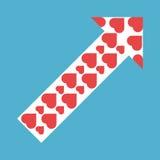 Βέλος των κόκκινων καρδιών Στοκ Φωτογραφία