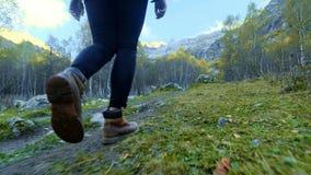 Βήματα ποδιών του οδοιπόρου που υπαίθρια περπάτημα των ποδιών στη δύσκολη έκταση άλμα πέρα από τις πέτρες φιλμ μικρού μήκους