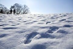 Βήματα στο χιόνι Στοκ Εικόνες