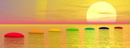 Βήματα Chakra στον ήλιο - τρισδιάστατο δώστε Στοκ Εικόνες