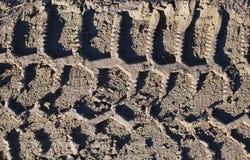Βήμα ροδών του ελαστικού αυτοκινήτου ενάντια στο βρώμικο έδαφος από στοκ εικόνες