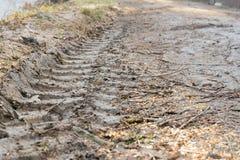 Βήμα ροδών των ροδών αυτοκινήτων στη λάσπη Στοκ φωτογραφία με δικαίωμα ελεύθερης χρήσης