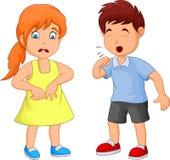 Βήξιμο μικρών παιδιών κινούμενων σχεδίων διανυσματική απεικόνιση