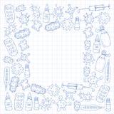 Βήχας, χάπια, γρίπη, γρίπη, ασθένεια Διανυσματικό σχέδιο με τα εικονίδια doodle ιατρική υγιεινής υγειονομικής περίθαλψης ματιών π ελεύθερη απεικόνιση δικαιώματος