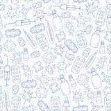 Βήχας, χάπια, γρίπη, γρίπη, ασθένεια Διανυσματικό σχέδιο με τα εικονίδια doodle ιατρική υγιεινής υγειονομικής περίθαλψης ματιών π απεικόνιση αποθεμάτων