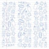 Βήχας, χάπια, γρίπη, γρίπη, ασθένεια Διανυσματικό σχέδιο με τα εικονίδια doodle ιατρική υγιεινής υγειονομικής περίθαλψης ματιών π διανυσματική απεικόνιση