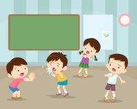 βήχοντας παιδί στο φίλο Χτύπημα παιδιών η μύτη ελεύθερη απεικόνιση δικαιώματος