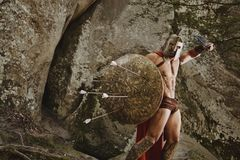 Βίαιος πολεμιστής gladiator στο τεθωρακισμένο Στοκ εικόνα με δικαίωμα ελεύθερης χρήσης