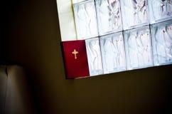 Βίβλος της Holly κοντά στο παράθυρο γυαλιού Στοκ Εικόνες