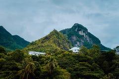 Βίλες που κάθονται στα βουνά στο νησί Mahe, Σεϋχέλλες στοκ εικόνες
