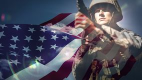 Βίντεο αμερικανικών σημαιών απόθεμα βίντεο