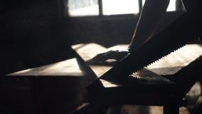 Βίντεο βραχείας κίνησης με χειροκίνητο ξυλουργό και ιδέα της χειροτεχνίας ξυλουργός πριονίζει ένα δέντρο σε ένα εργαστήριο πριονί απόθεμα βίντεο