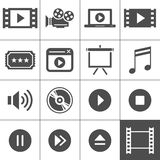 Βίντεο και σύνολο εικονιδίων κινηματογράφων Στοκ Εικόνες