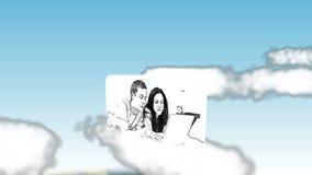 Βίντεο της οικογένειας σε γραπτό στον ουρανό απόθεμα βίντεο
