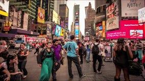 Βίντεο χρονικού σφάλματος του χρονικού τετραγώνου σε NYC απόθεμα βίντεο