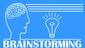 Βίντεο 'brainstorming' με το κεφάλι, εγκέφαλος, λάμποντας λάμπα φωτός, ζωντανεψοντα βέλη Άσπρος σχεδιασμός περιλήψεων χρήσιμος όπ διανυσματική απεικόνιση
