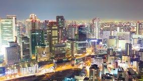 Βίντεο Timelapse της Οζάκα στην Ιαπωνία τη νύχτα απόθεμα βίντεο