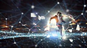 Βίωση της εικονικής πραγματικότητας Μικτά μέσα στοκ φωτογραφία