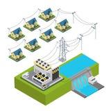 Βίλα ενεργειακών υδρο σταθμών εγκαταστάσεων υδραυλικής ισχύος πράσινη διανυσματική απεικόνιση