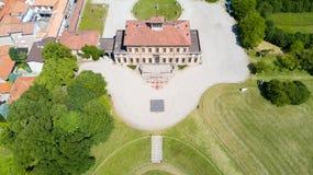 Βίλα Bagatti Valsecchi, βίλα, εναέρια άποψη, δέκατος όγδοος αιώνας, ιταλική βίλα, Varedo, Monza Brianza, Λομβαρδία Ιταλία Στοκ Εικόνα
