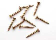 Βίδες που απομονώνονται ξύλινες Στοκ εικόνες με δικαίωμα ελεύθερης χρήσης