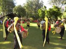 Βαγκαλόρη, Karnataka, Ινδία - 1 Ιανουαρίου 2009 καλλιτέχνες την ώρα της παράστασης απόδοσης χορού Dollu Kunitha, δημοφιλής χορός  στοκ εικόνες