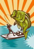 βαθιά αλιεία largemouth Στοκ εικόνα με δικαίωμα ελεύθερης χρήσης