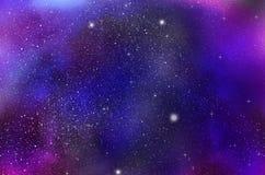Βαθιά ανασκόπηση μακρινού διαστήματος με τα αστέρια και το νεφέλωμα διανυσματική απεικόνιση