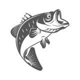 Βαθιά διανυσματική απεικόνιση ψαριών στο μονοχρωματικό εκλεκτής ποιότητας ύφος Στοιχεία σχεδίου για το λογότυπο, ετικέτα, έμβλημα Στοκ εικόνα με δικαίωμα ελεύθερης χρήσης