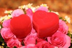 βαθιά - κόκκινος γάμος δαχτυλιδιών Στοκ Εικόνα