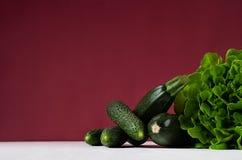 Βαθιά - πράσινα διαφορετικά λαχανικά στο πλούσιο υπόβαθρο marsala με το διάστημα αντιγράφων Υγιή θερινά ακατέργαστα τρόφιμα και σ στοκ φωτογραφίες με δικαίωμα ελεύθερης χρήσης