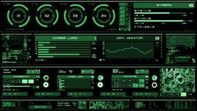 Βαθιά - πράσινη φουτουριστική διεπαφή/ψηφιακό screen/HUD φιλμ μικρού μήκους