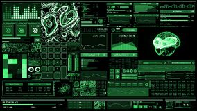 Βαθιά - πράσινη φουτουριστική διεπαφή/ψηφιακό screen/HUD απόθεμα βίντεο