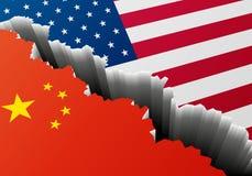 Βαθιά ρωγμή Κίνα ΗΠΑ απεικόνιση αποθεμάτων